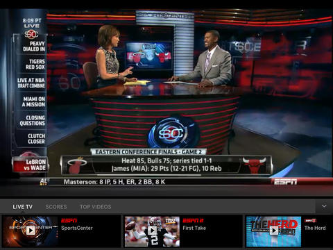 WatchESPN iPad app with Live Toolbar